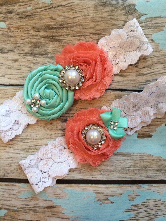Wedding Garter SET Tiffany Blue Coral By FallenStarCoutureInc