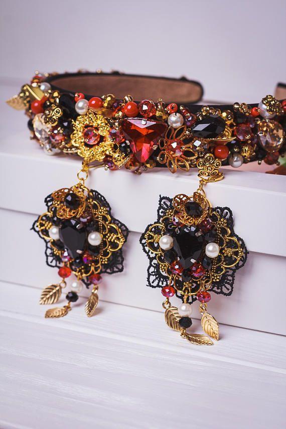 vendita a buon mercato usa speciale per scarpa codice coupon Cerchietto in oro nero con perline rosso strass barocco Fascia ...