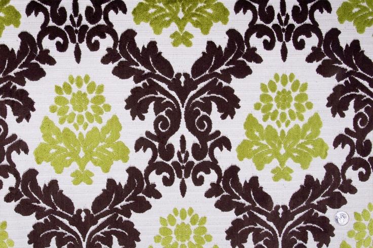 Mood Fabrics : New York Fashion Designer Discount Fabric | HV178 Natural/Chocolate/Lime Damask Chenille