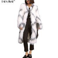 Kadın Faux Kürk Büyük Boy Siyah ve Beyaz Sıcak Kış Ceketler Dişiler Uzun Tüylü Kollu Dış Giyim Moğol Kürk Mantolar SWQ0225-4