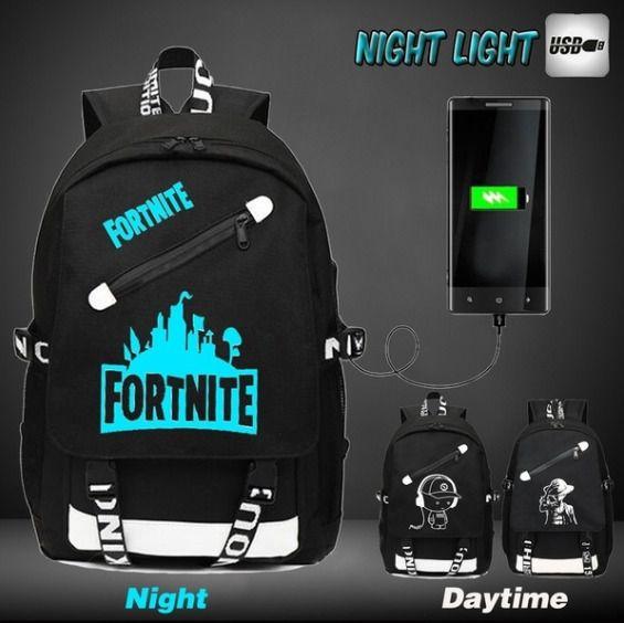 night light fortnite backpack with usb charger school bags teenagers boys girls fortnite fortnitebattleroyale live - fortnite charger