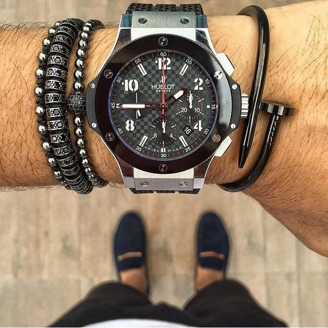 All black everything!▪️ The sporty Hublot Big Bang chronograph watch on the wrist of my buddy @LuxuriousBaller  | #LoveWatches