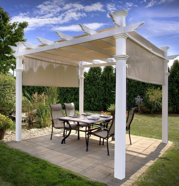 Pergola Canopy Ideas Patio Deck Shade Canvas Canopy Simple White Stained Elegant And Wooden Furniture Sample Stylish Creations