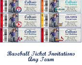 Baseball Ticket Invitations Red Socks White Socks Marlins Yankees LSU Cardinals Mets Any Team You Want