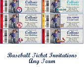 Baseball Ticket Invitations Red Socks White Socks Marlins Yankees LSU Cardinals Mets Any Team You Want