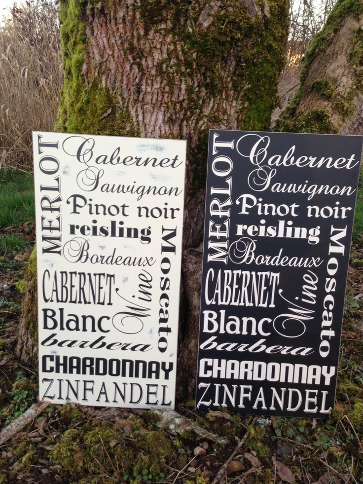 Wine Sign 12 x 24 Variety of Different by NotTooShabbyChicHome