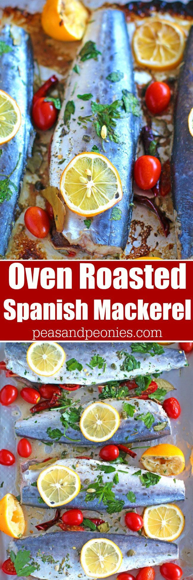 Healthy Oven Roasted Spanish Mackerel marinated with grape tomatoes, capers, dried chili peppers and lemon is one very tasty and easy meal to make.