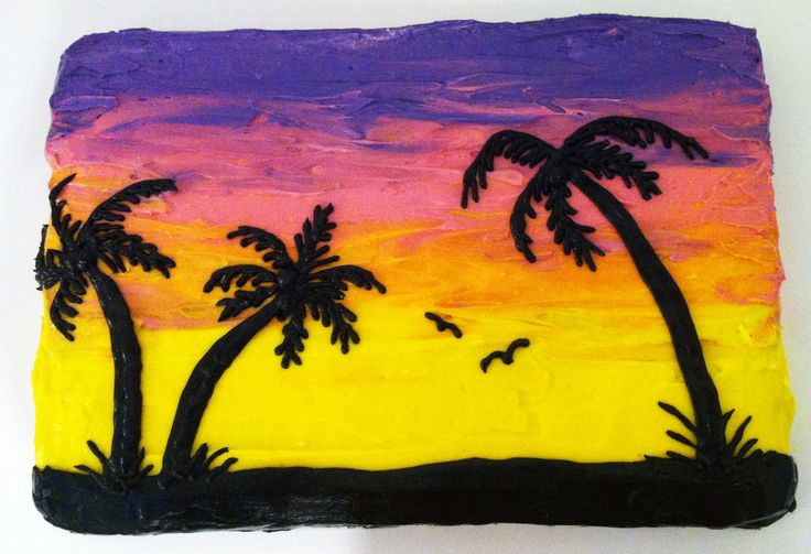 Sunset cake with palm tree silhouette