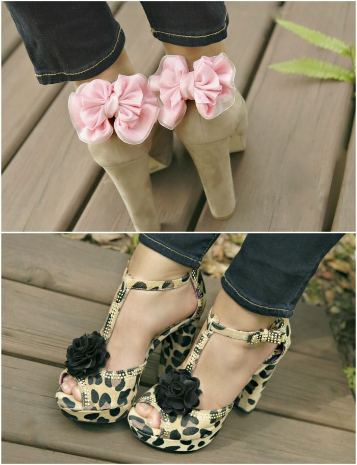diy shoe clips. Transform old shoes by clipping bows or flowers to them!