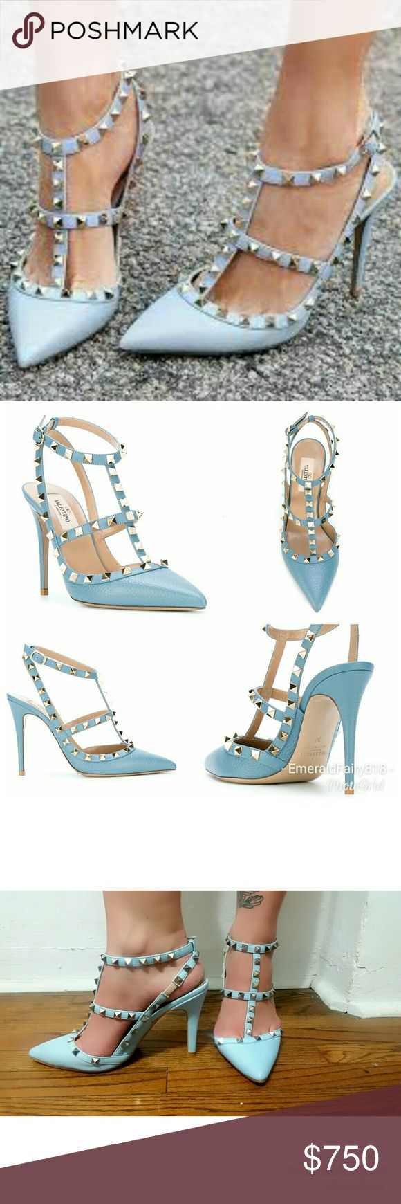 Valentino Rockstud Pumps, Blue, 38 (US 8) I have a pair of Valentino Rockstud pumps in the sky blue color (all blue, including straps) for sale. Italy size 38 (US size 8). No shoe box. They are in beautiful condition and have never been worn outside of the house. There are small rub marks on the undersides of each show from me attempting to remove where a price was hand written on each shoe. Valentinos! Who does that? Valentino Shoes Heels