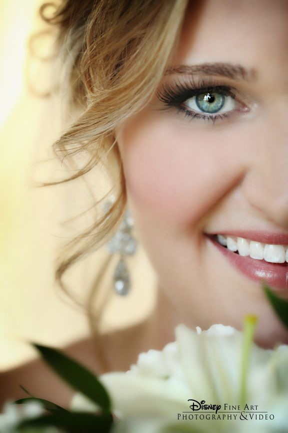 Take as many portraits as possible to capture every aspect of your wedding look #Disney #wedding #natural #makeup