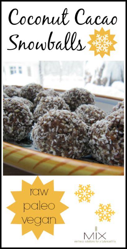 Coconut Cacao Snowballs {Raw  Paleo  Vegan}   www.mixwellness.com