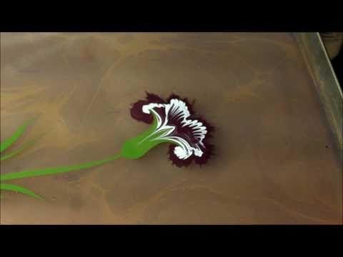 Ebru sanatinda Karanfil  yapimi ,Floral marbling  ebru art with carnation by Yasemin Ozsavasci