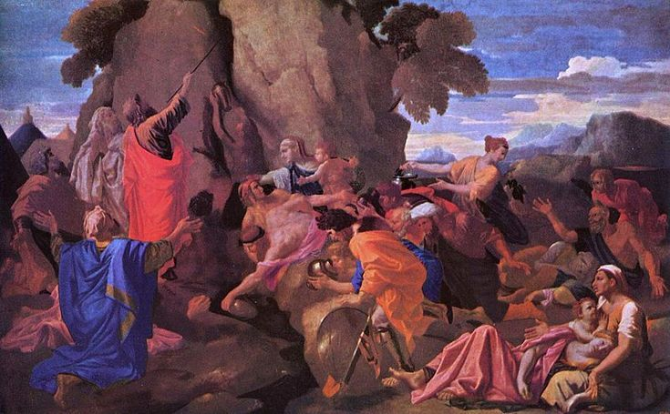 Moses Striking Water from the Rock - Nicolas Poussin.  1649.  Oil on canvas.  150 x 196 cm.  The State Hermitage Museum, St. Petersburg, Russia.