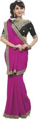 De Marca Solid Embroidered Embellished Chiffon Sari