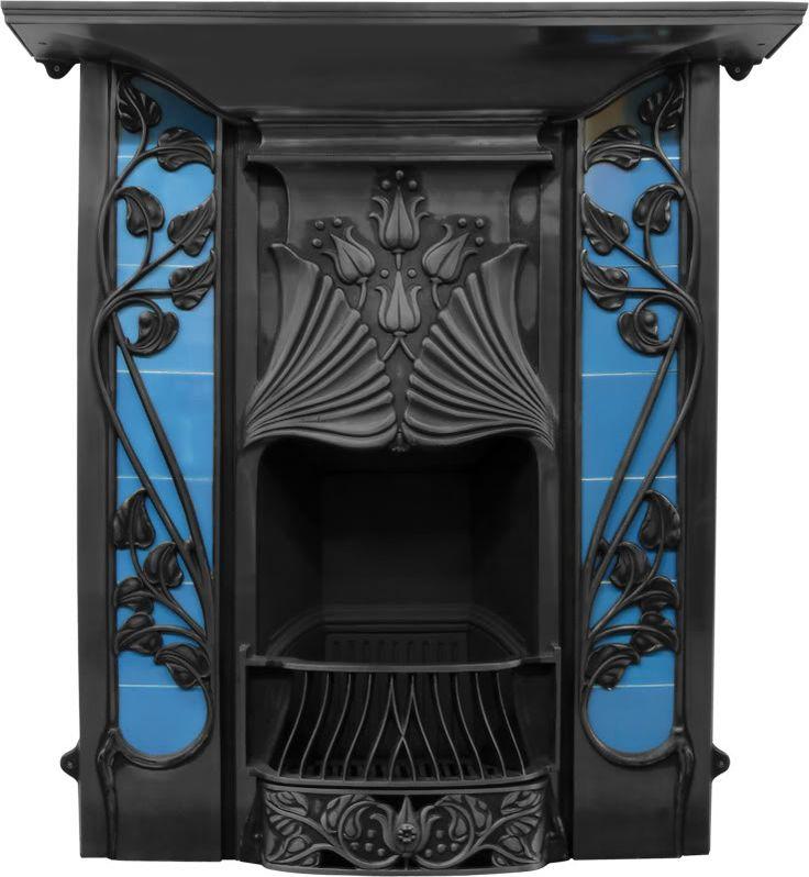 Toulouse Art Nouveau Black Finish Cast Iron Combination Fireplace,Toulouse,RX254,buy,sell,stock,for sale,cast,iron,fireplaces,combination,an...