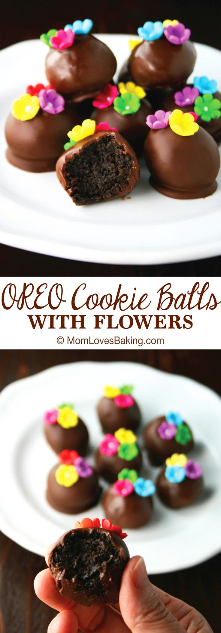 Do you need a super quick SPRING dessert to bring to a party? OREO Cookie Balls w/ Flowers are so cute and easy to make. And they taste like fancy store-bought chocolate truffles! #OREOCookieBalls [ad]