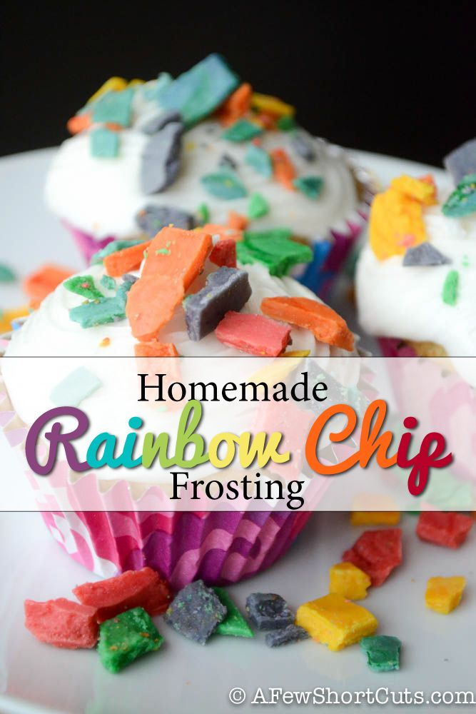Betty Crocker discontinued Rainbow Chip Frosting. Learn how to make your own with this Homemade Rainbow Chip Frosting #Recipe