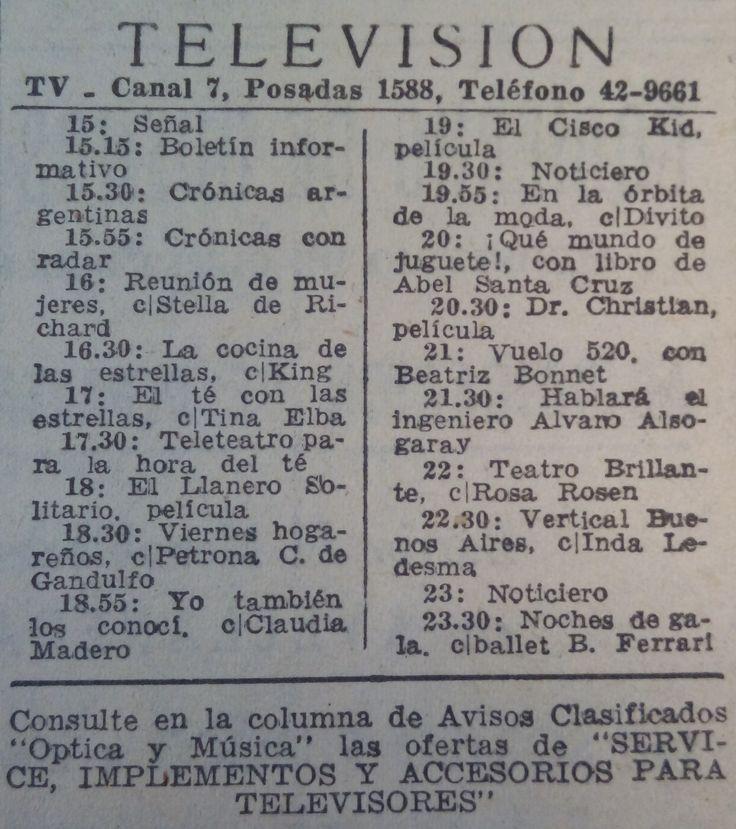 Recorte de diario LA NACION, octubre, 1959, con la programación de CANAL 7, Buenos Aires, hasta esa época única emisora de TV Argentina.