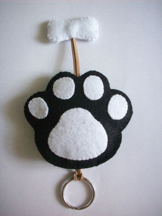 Black Dog Paw Key cover/case by LittleWoolShop on Etsy, $7.80