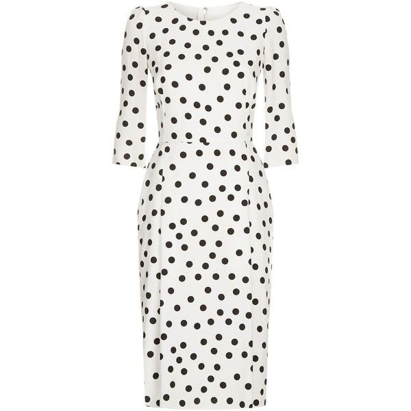 Dolce & Gabbana Polka-Dot Midi Dress ($1,985) ❤ liked on Polyvore featuring dresses, mid calf dresses, dolce gabbana dress, midi evening dresses, evening dresses and white cocktail dress