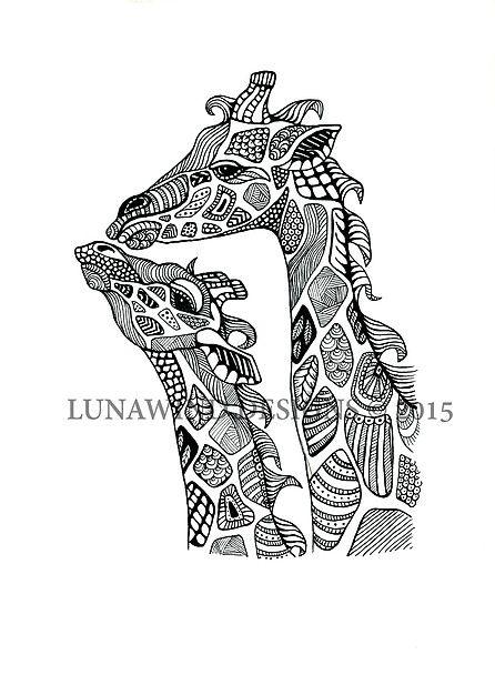 Giraffe Family Africa Safari Serengeti Tattoo Idea Baby