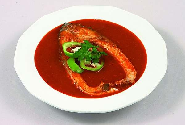 Fish soup - starter at the Hungarian  Christmas menu