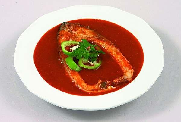 Fish soup - starter at the Hungarian  Christmas menu