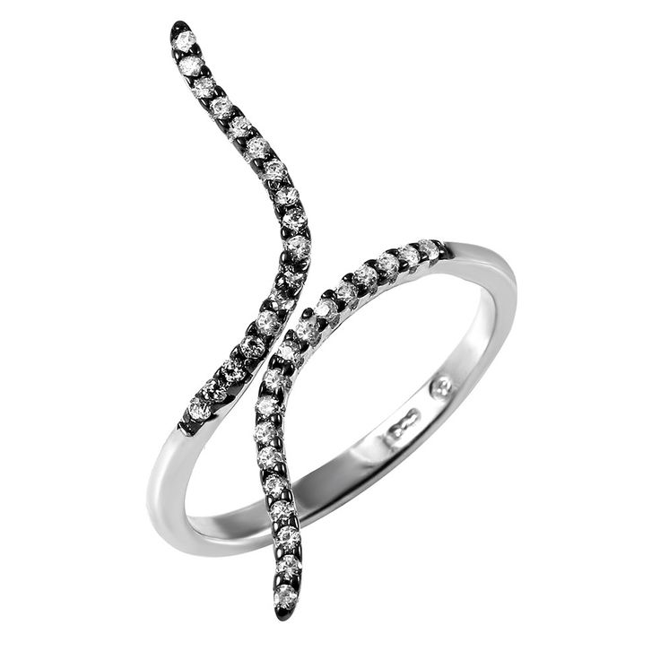 .925 Sterling Silver Black Rhodium and Rhodium Plated Graph Black Rhodium Ring