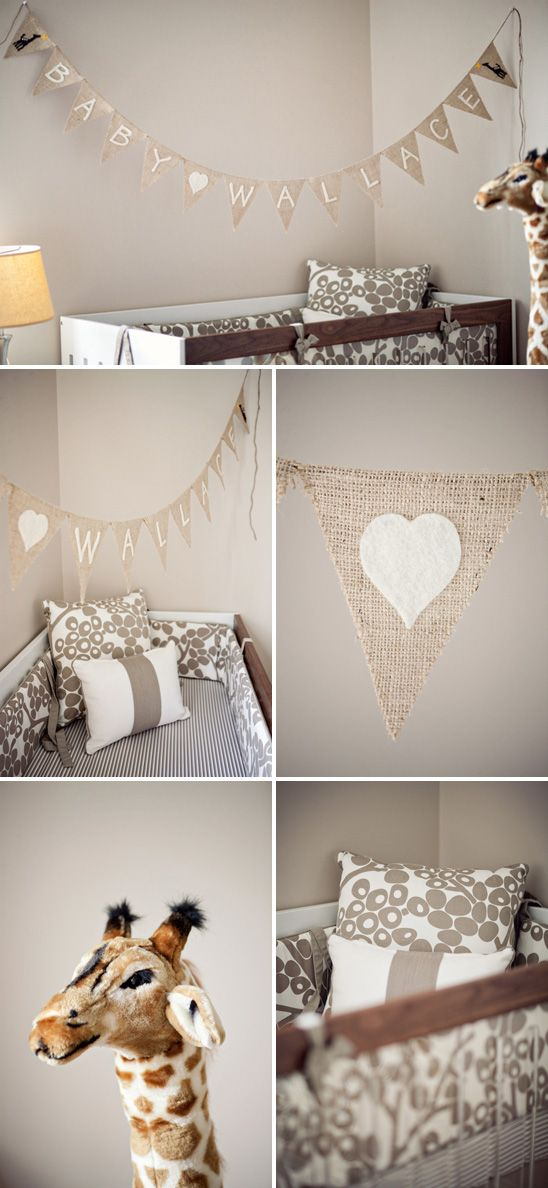 A NessaLee Baby customer's modern gender neutral nursery using the Spot on Square ROH crib & Oilo Modern Berries bedding in Taupe