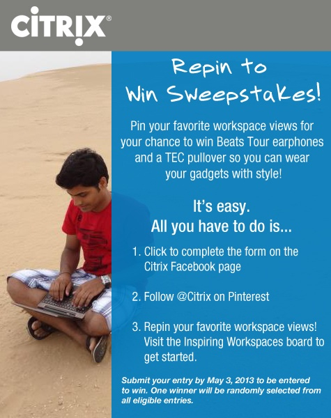 What type of workspace view inspires you? Enter our new Repin to Win contest by May 3, 2013.