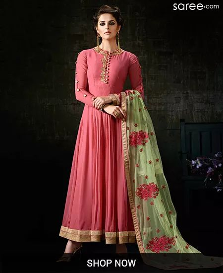 PINK GEORGETTE ANARKALI SUIT WITH EMBROIDERY WORK - SKDAA13228