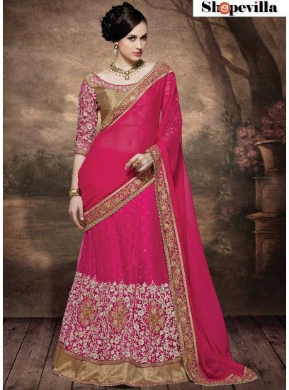 Pink Colour Wedding Wear Embroidery Georgette & Net Designer Lehenga Saree-4005