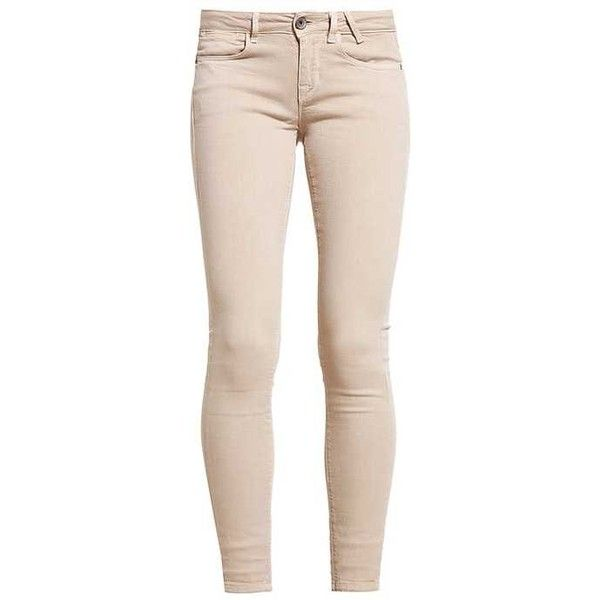 JEGGING Jeans Skinny beige ZALANDO ($105) ❤ liked on Polyvore featuring jeans, pants, jegging jeans, pink jeggings, skinny leg jeans, super skinny jeans and skinny jeggings