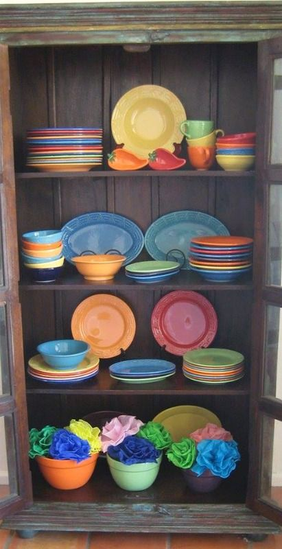 Bright and beautiful display of HF Coors Aztec dinnerware.