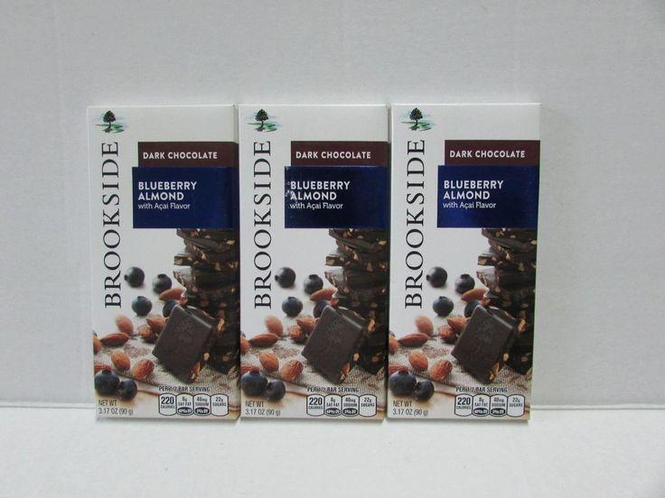 Two Brookside Dark Chocolate Bar Blueberry Almond With Açaí 3.17 oz Delicious! #Brookside