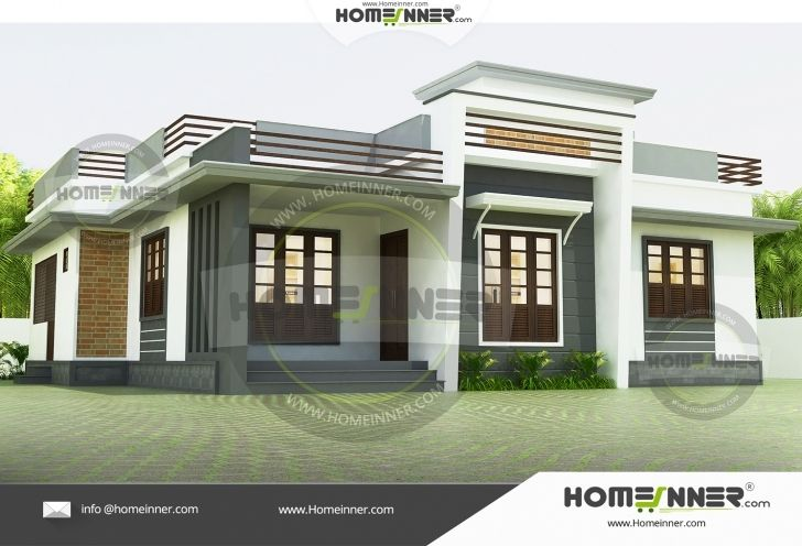 Stunning Hind 9011 Low Budget Modern 3 Bedroom House Design In Kerala Image Contemporary House Plans Low Cost House Plans One Floor House Plans