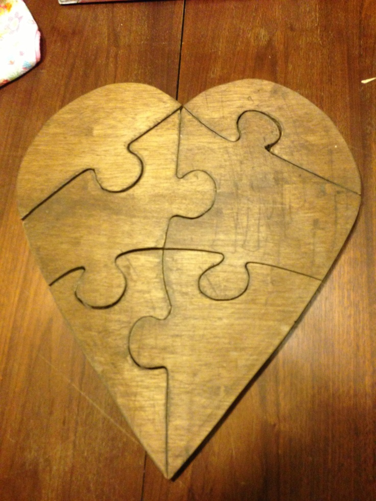 Great wedding guest book idea! or gift?! Wooden puzzle home decor ...