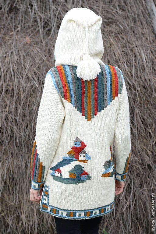 Купить Пальто 14 WJ07 - белый, рисунок, вязаное пальто, нарядное, стильное, капюшон, кисть