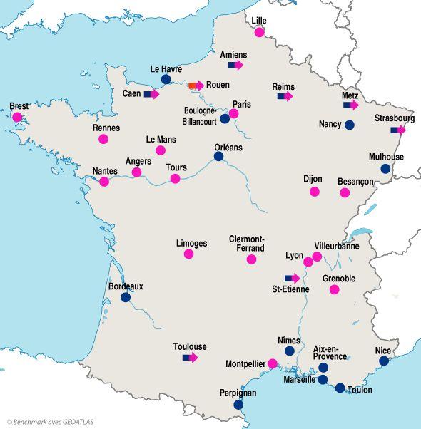 Les villes françaises | Carte de france, Géographie, Carte ...