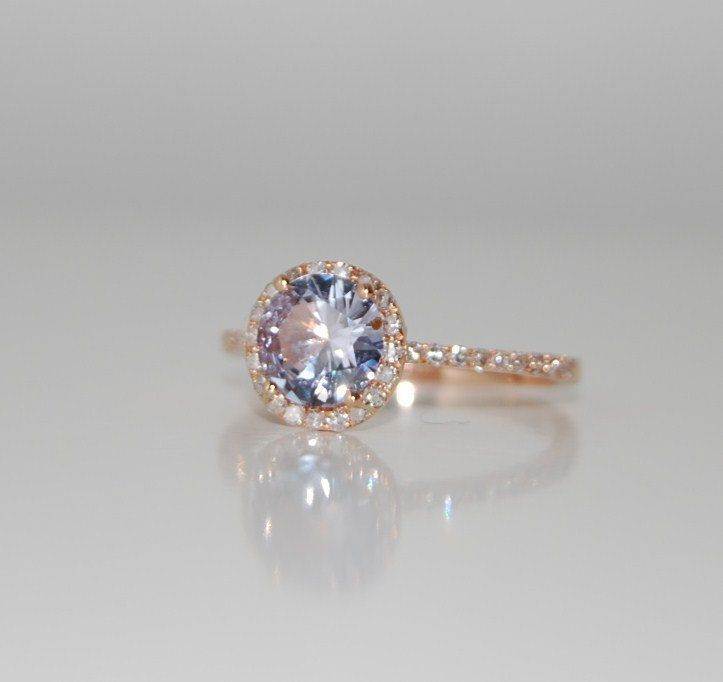 White Purple Lavender Pink sapphire diamond ring a 14k rose gold diamond setting. $1,300.00, via Etsy.