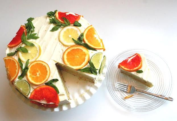 Citrus Cake with Lemon Curd Filling and Orange Lemon Icing