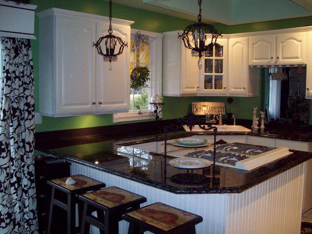 I Painted My Ugly Formica Counters To Look Like Faux Granite, Countertops,  Kitchen Design, Painting, This Was The Countertops BEFORE Yup Hunter Green  ...