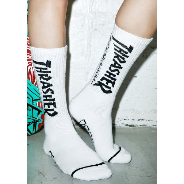 HUF X Thrasher Crew Socks ($15) ❤ liked on Polyvore featuring intimates, hosiery, socks, crew socks, huf, huf socks and skate socks