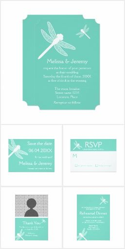 Teal Dragonfly Wedding Set #wedding #dragonfly #teal #turquoise
