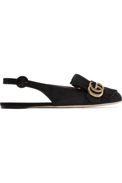 Gucci - Marmont Fringed Suede Slingback Flats - Black - IT
