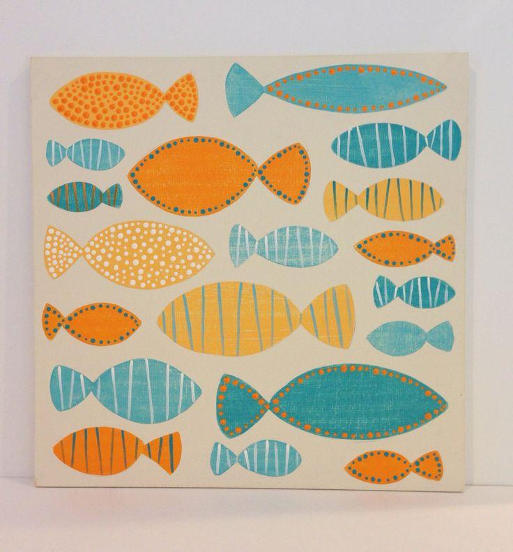 Dipinto arte della parete in legno Aqua e di SweetBananasArt