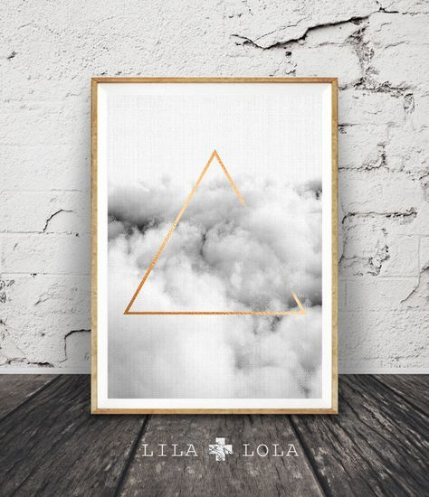 Geometric Cloud Print, Black and White, Printable Poster, Large Abstract Prints, Gold Triangle, Digital Download, Minimalist Wall Art Decor
