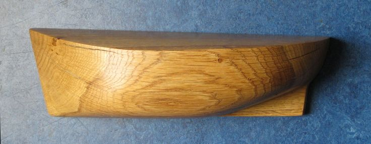 Wooden half-hull fishing trawler cutter model boat hand carved and finished from a piece of European Ash firewood
