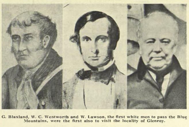 Portraits of Gregory Blaxland, William Charles Wentworth and William Lawson. Explorers who led an expedition across the Blue Mountains of New South Wales in 1813, opening up the plains beyond the mountain range to European settlement.